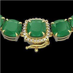 116 CTW Emerald & VS/SI Diamond Halo Micro Solitaire Necklace 14K Yellow Gold - REF-467A3X - 23343