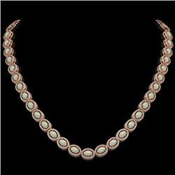21.21 CTW Opal & Diamond Halo Necklace 10K Rose Gold - REF-555Y3K - 40416