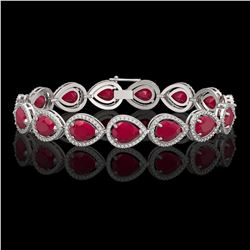 30.06 CTW Ruby & Diamond Halo Bracelet 10K White Gold - REF-368H5A - 41237