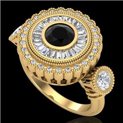 2.62 CTW Fancy Black Diamond Solitaire Art Deco 3 Stone Ring 18K Yellow Gold - REF-254K5W - 37921