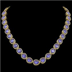 44.8 CTW Tanzanite & Diamond Halo Necklace 10K Yellow Gold - REF-1134N9Y - 41197
