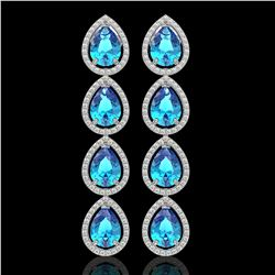 10.8 CTW Swiss Topaz & Diamond Halo Earrings 10K White Gold - REF-155W6F - 41315