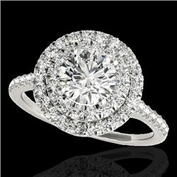 1.5 CTW H-SI/I Certified Diamond Solitaire Halo Ring 10K White Gold - REF-163Y6K - 33352