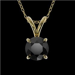 0.50 CTW Fancy Black VS Diamond Solitaire Necklace 10K Yellow Gold - REF-16T5M - 33158
