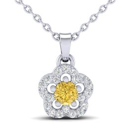 0.33 CTW Citrine & Micro VS/SI Diamond Necklace Moon 10K White Gold - REF-17M3H - 21344