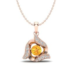 0.40 CTW Citrine & Micro Pave VS/SI Diamond Halo Necklace 14K Rose Gold - REF-25X3T - 20008
