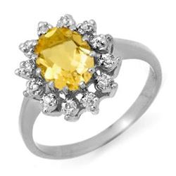 1.14 CTW Citrine & Diamond Ring 14K White Gold - REF-30K8W - 12478
