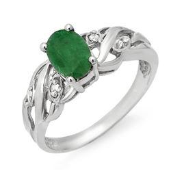 0.82 CTW Emerald & Diamond Ring 18K White Gold - REF-33M6H - 13562