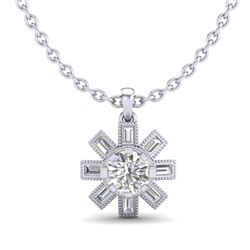 1.33 CTW VS/SI Diamond Solitaire Art Deco Stud Necklace 18K White Gold - REF-220Y9K - 37067