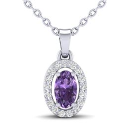 0.36 CTW Amethyst & Micro Pave VS/SI Diamond Necklace Halo 18K White Gold - REF-25N3Y - 21311