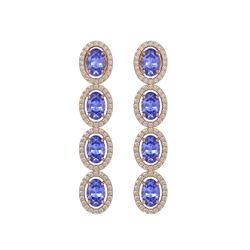 6.09 CTW Tanzanite & Diamond Halo Earrings 10K Rose Gold - REF-122N2Y - 40512