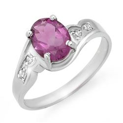 1.26 CTW Amethyst & Diamond Ring 10K White Gold - REF-16W2F - 12502