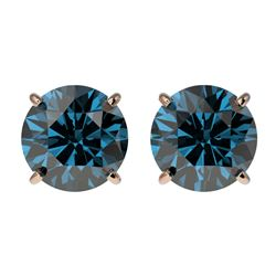 2 CTW Certified Intense Blue SI Diamond Solitaire Stud Earrings 10K Rose Gold - REF-205A9X - 33087