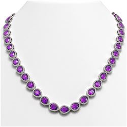 35.13 CTW Amethyst & Diamond Halo Necklace 10K White Gold - REF-586A9X - 41081