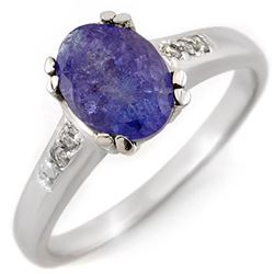 1.35 CTW Tanzanite & Diamond Ring 10K White Gold - REF-36K4W - 11216