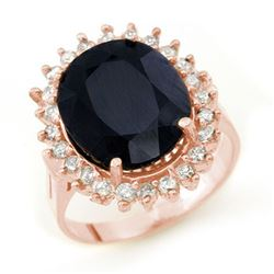 14.10 CTW Blue Sapphire & Diamond Ring 14K Rose Gold - REF-150A9X - 13111