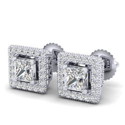 2.25 CTW Princess VS/SI Diamond Micro Pave Stud Earrings 18K White Gold - REF-272A8X - 37169