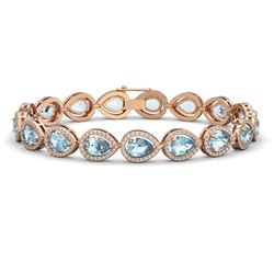 15.74 CTW Aquamarine & Diamond Halo Bracelet 10K Rose Gold - REF-345F5N - 41115