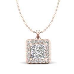 1.93 CTW Princess VS/SI Diamond Solitaire Micro Pave Necklace 18K Rose Gold - REF-436K4W - 37173