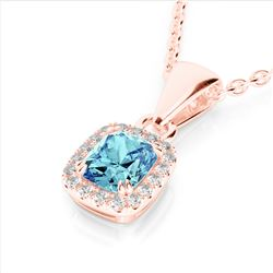 1.25 CTW Sky Blue Topaz & Micro VS/SI Diamond Halo Necklace 10K Rose Gold - REF-27N3Y - 22893
