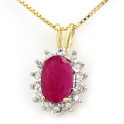 1.90 CTW Ruby & Diamond Pendant 10K Yellow Gold - REF-20K8W - 13973