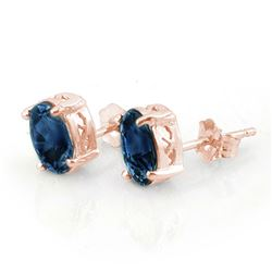 3.0 CTW Blue Sapphire Earrings 14K Rose Gold - REF-13H6A - 11315