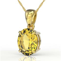 2.5 CTW Citrine Designer Inspired Solitaire Necklace 18K Yellow Gold - REF-29H3A - 21859