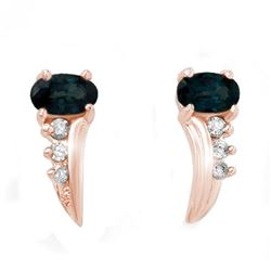 0.55 CTW Blue Sapphire & Diamond Earrings 18K Rose Gold - REF-19A3X - 12797