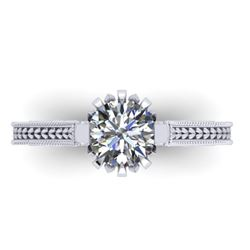 1 CTW Solitaire Certified VS/SI Diamond Ring 14K White Gold - REF-287Y3K - 38544