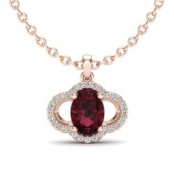 2 CTW Garnet & Micro Pave VS/SI Diamond Necklace 10K Rose Gold - REF-29W6F - 20632