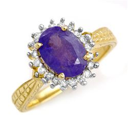 2.75 CTW Tanzanite & Diamond Ring 18K Yellow Gold - REF-87K3W - 13597