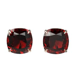 12 CTW Cushion Cut Garnet Designer Solitaire Stud Earrings 14K Rose Gold - REF-35Y6K - 21782