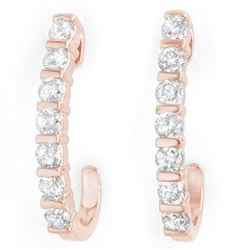 0.75 CTW Certified VS/SI Diamond Earrings 18K Rose Gold - REF-78N5Y - 13999