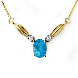 1.30 CTW Blue Topaz & Diamond Necklace 10K Yellow Gold - REF-19W3F - 12598