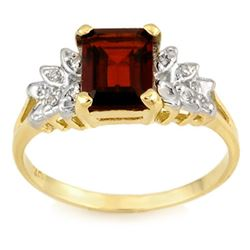 2.37 CTW Garnet & Diamond Ring 10K Yellow Gold - REF-19K6W - 11429