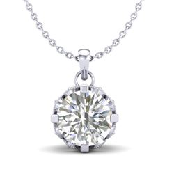 1.14 CTW VS/SI Diamond Solitaire Art Deco Stud Necklace 18K White Gold - REF-205H5A - 36842