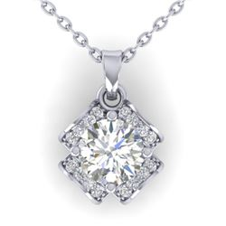 0.95 CTW Certified VS/SI Diamond Art Deco Stud Necklace 14K White Gold - REF-114K5W - 30279