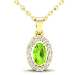 0.41 CTW Peridot & Micro Pave VS/SI Diamond Necklace Halo 18K Yellow Gold - REF-26M2H - 21324