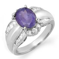 3.52 CTW Tanzanite & Diamond Ring 18K White Gold - REF-133X3T - 14459