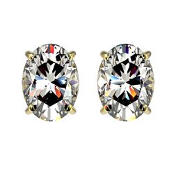 2 CTW Certified VS/SI Quality Oval Diamond Solitaire Stud Earrings 10K Yellow Gold - REF-585X2T - 33