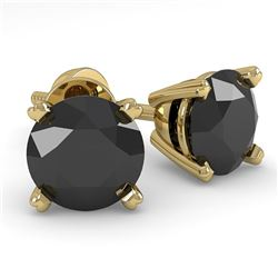 1.0 CTW Black Diamond Stud Designer Earrings 14K Yellow Gold - REF-28W5F - 38357