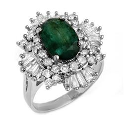3.90 CTW Emerald & Diamond Ring 18K White Gold - REF-170A2X - 13285