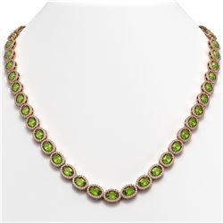 31.1 CTW Peridot & Diamond Halo Necklace 10K Rose Gold - REF-554W8F - 40428