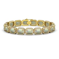 16.86 CTW Opal & Diamond Halo Bracelet 10K Yellow Gold - REF-334N8Y - 41395