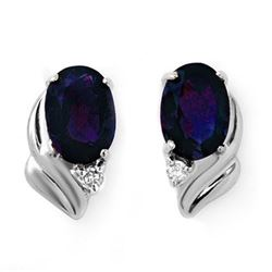 1.20 CTW Blue Sapphire & Diamond Earrings 18K White Gold - REF-21M6H - 12830