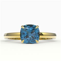 1.50 CTW Cushion Cut London Blue Topaz Designer Solitaire Ring 18K Yellow Gold - REF-33Y3K - 22150