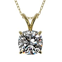 1 CTW Certified VS/SI Quality Cushion Cut Diamond Necklace 10K Yellow Gold - REF-267F8N - 33200