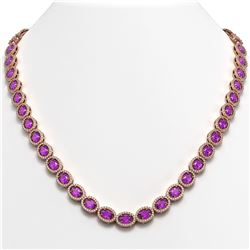 29.38 CTW Amethyst & Diamond Halo Necklace 10K Rose Gold - REF-503T5M - 40440