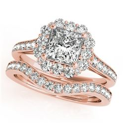 1.75 CTW Certified VS/SI Princess Diamond 2Pc Set Solitaire Halo 14K Rose Gold - REF-455K8W - 31368
