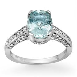 2.30 CTW Aquamarine & Diamond Ring 14K White Gold - REF-58H8A - 11873